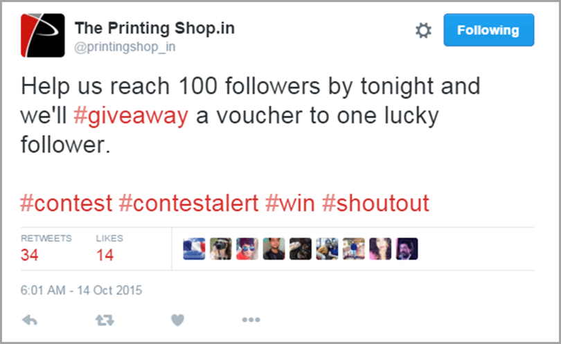 The Printing Shop mini give away image for get social media traffic