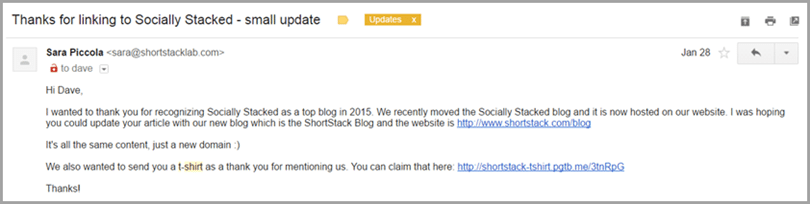 email I received at Socially Stacked image for engage influencers