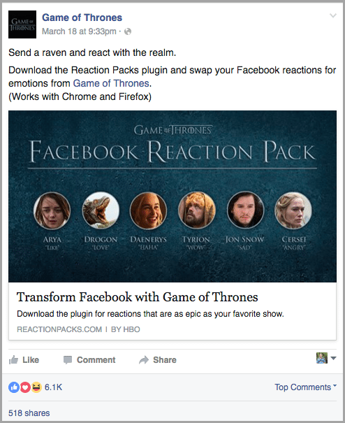 develop fun apps or games for facebook reactions
