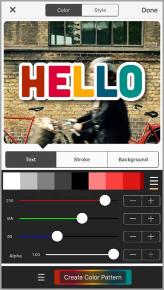 phonto create color pattern for instagram apps