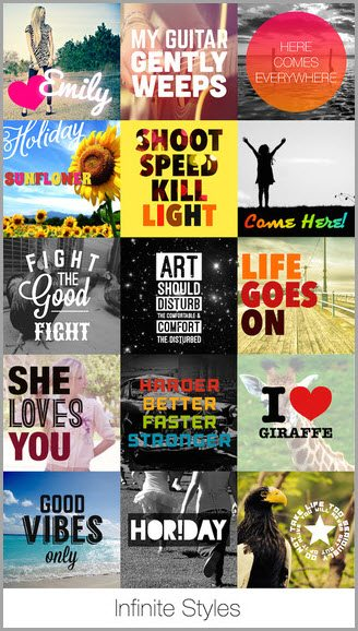 phonto infinite styles for instagram apps