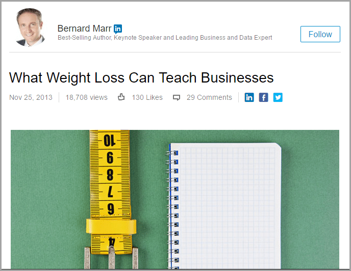 popular article by bernard marr for LinkedIn Publisher Mistakes