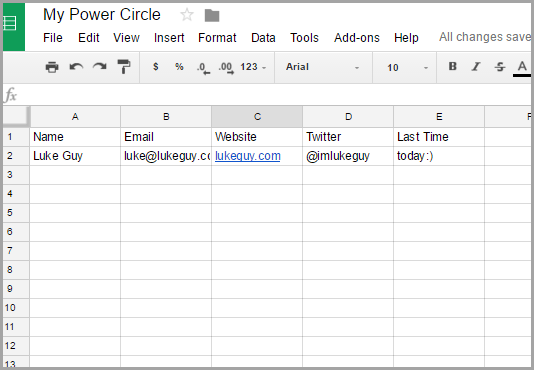 spreadsheet to connect with influencers