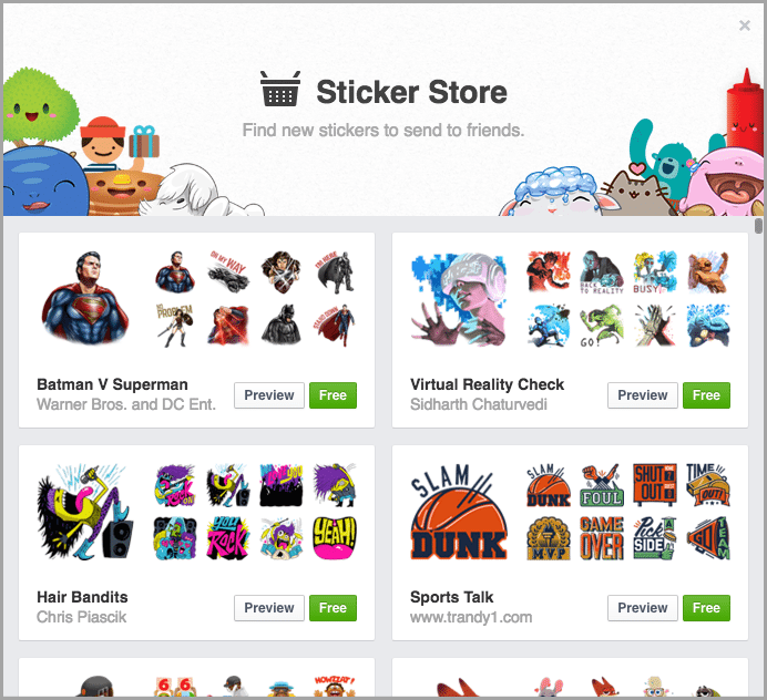 sticker store for facebook reactions