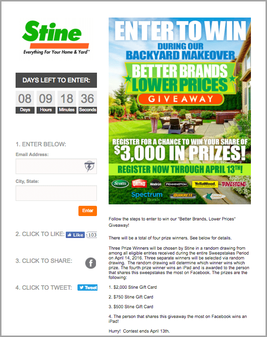 stine hardware sweepstakes for social contests