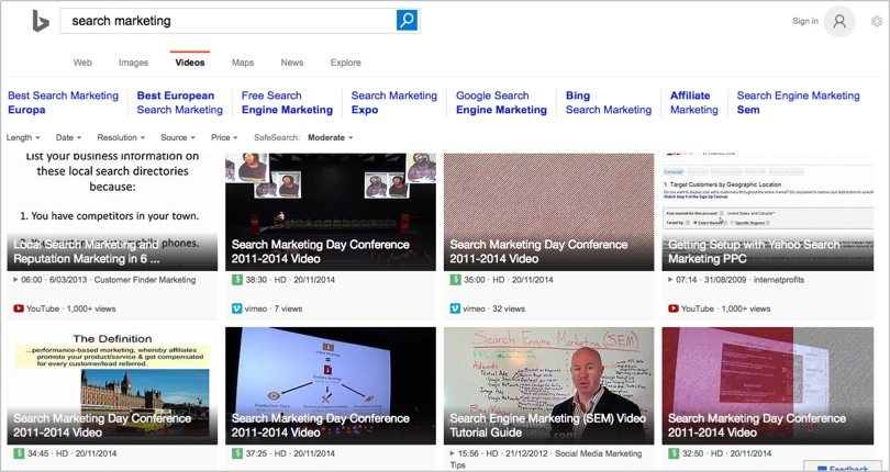 Bing video search marketing