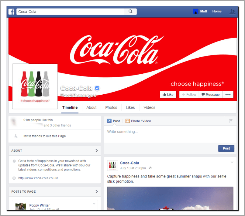 Coca-cola cover for facebook marketing mistakes