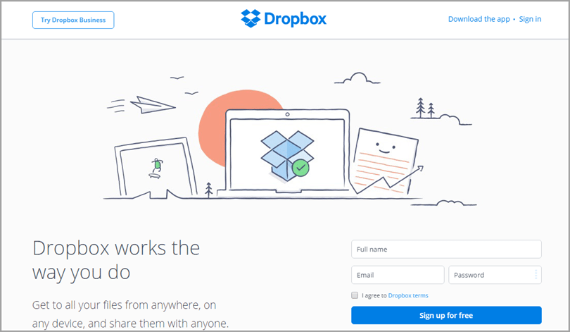 Dropbox for landing page videos