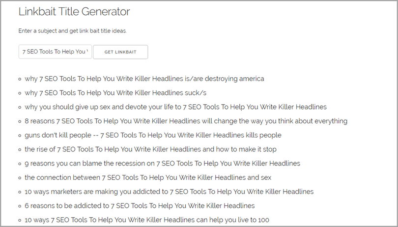 Linkbait Title Generator for SEO tools