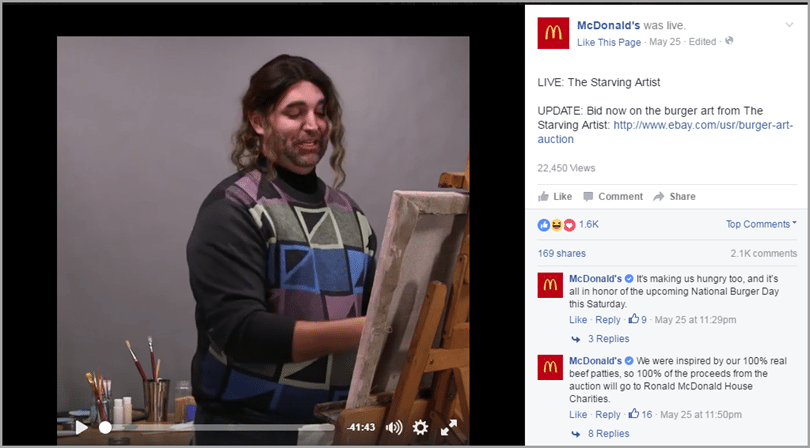 показать ваше событие в прямом эфире для 24-часовой трансляции в Facebook