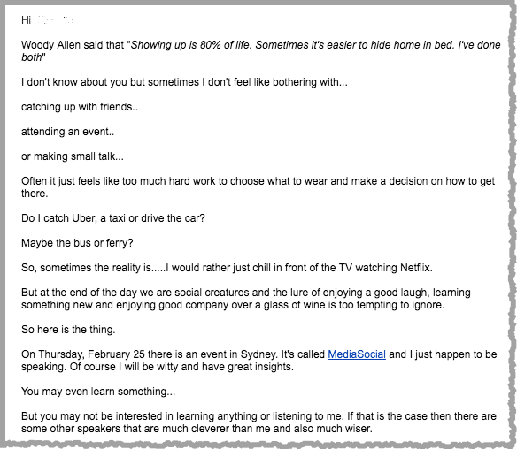 Copywriting email example 1