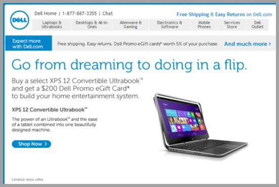 Dell Gif centric email campaign