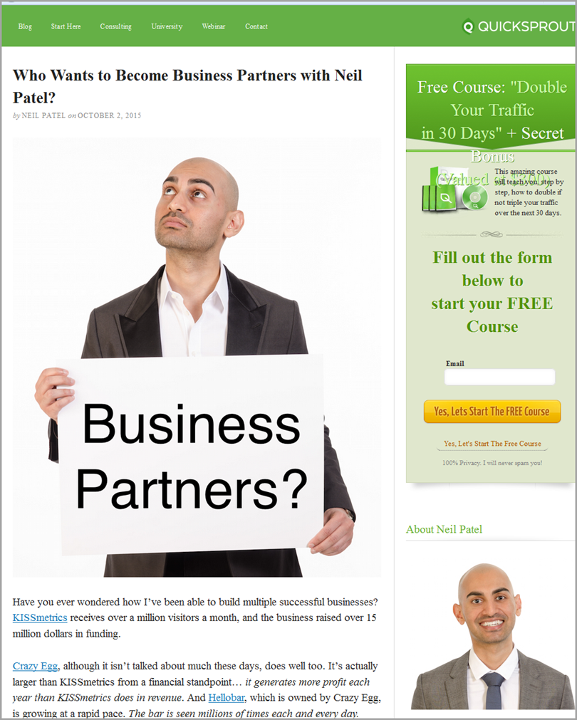 Neil Patel on Quicksprout blog for content marketing benefits
