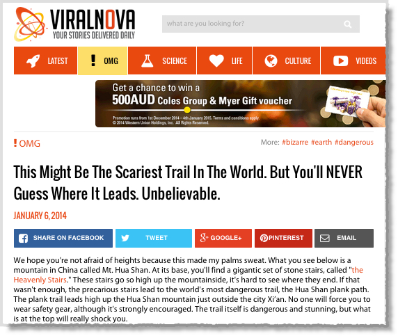 Viral Nova Curiosity Gap Headline