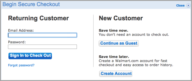 guest checkout for cart abandonment rate