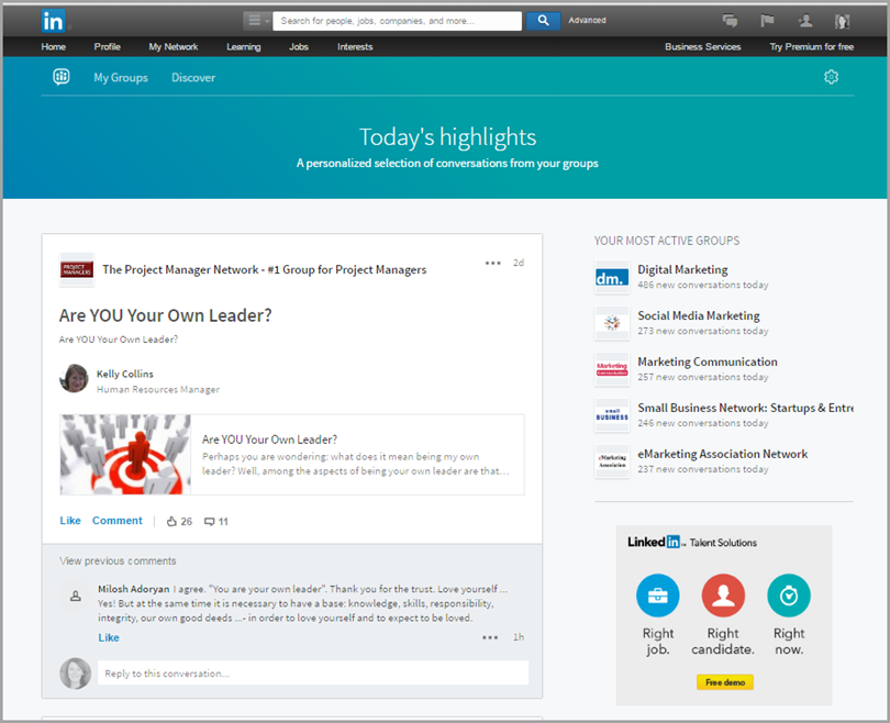 new feature and look for groups for changes to Linkedin groups