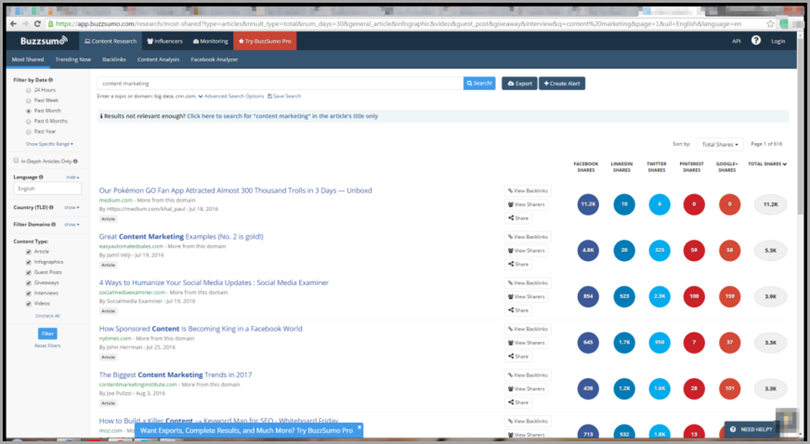 Buzzsumo for content marketing tools