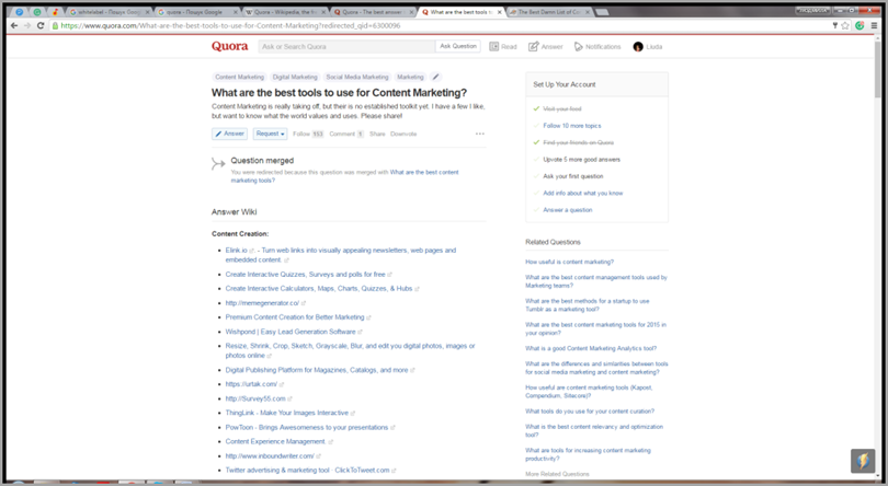 Quora for content marketing tools