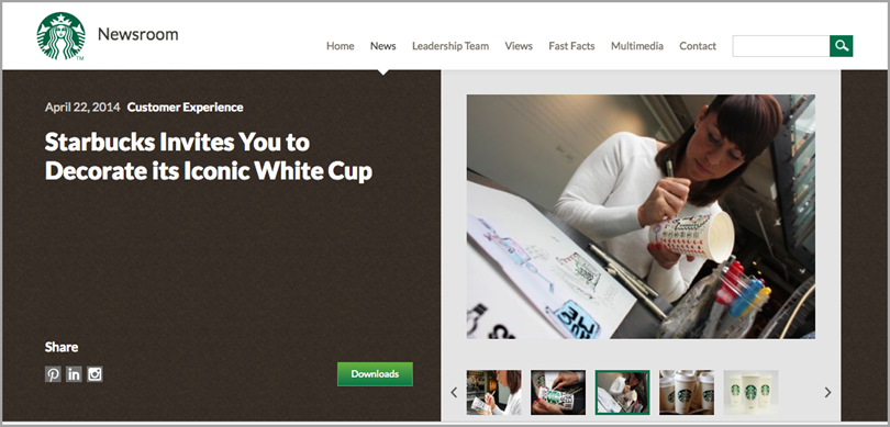 Starbucks' official website for leverage user-generated content