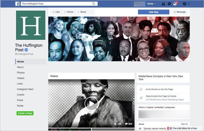 Huffington post facebook page for online branding tips