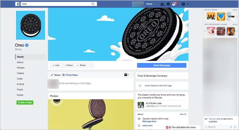 Oreo Facebook page for online branding tips