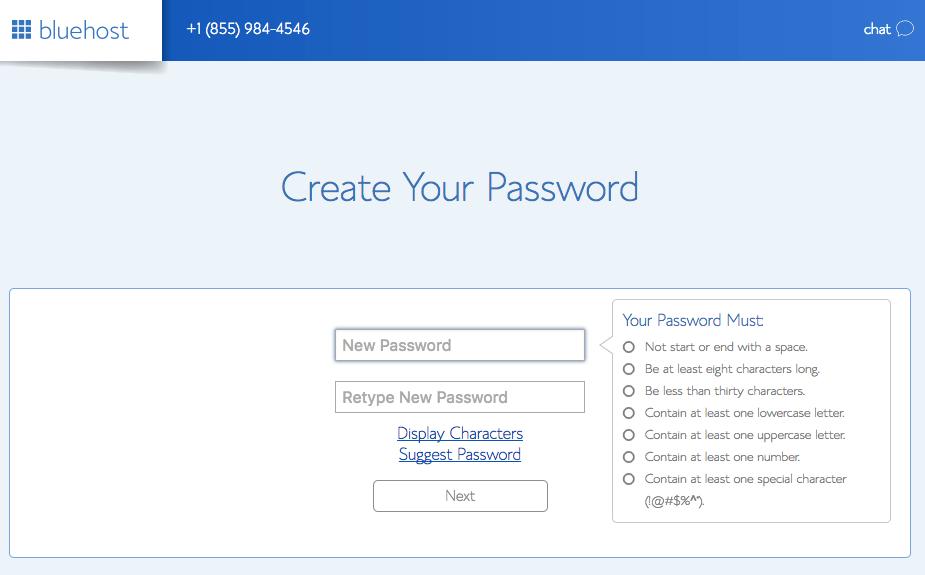 Start a Blog: Create Your Password